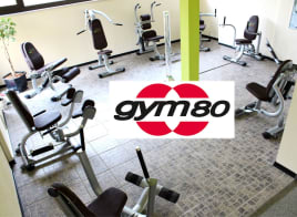 gym80 hydraulic circuit, Circular Series, 9 machines, silver, new cushions brown, used - refurbished, good condition