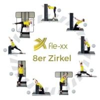 Fle-xx X-Serie Zirkel, 8er Set Flexx, Beweglichkeitszirkel, Baujahr 2018, Rückgrat-Konzept, Rückenzirkel zum dehnen, modernes Design, sehr guter Zustand