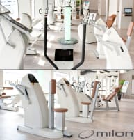 Milon premium strength endurance training circuit creme-white with brown cushions incl. huge leg press, good condition, used and refurbished