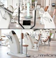 Milon Premium Kraft-Ausdauer Zirkel, Cremeweiß mit braunen Polstern, mit großer Beinpresse, guter Zustand, gebraucht und generalüberholt