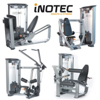 Inotec 28 machines, 18 strength machines, 10 benches and racks, silver, cushions black, used, refurbished condition