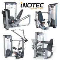 Inotec 28 Fitnessgeräte, 18 Kraftgeräte, 10 Bänke und Racks, Silber, Polster Schwarz, gebraucht, überholter Zustand