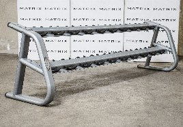 Matrix Fitness l Aura Serie | 10-Paar Hantelständer (G3-FW91), Iced Silver, 2011