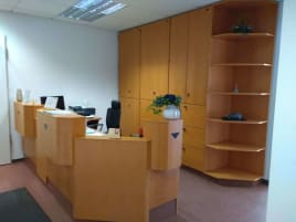 Practice reception desk and cupboards/locker