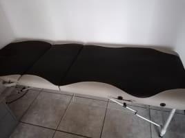 Massageliege, grau-schwarz, höhenverstellbar, mit Zubehör