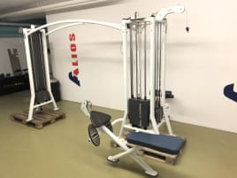 Compact 5 station tower Panatta lat pull rowing cablecross crossover pull-up stations tower