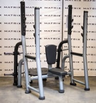 Matrix Fitness | Magnum Series | Olympic Shoulder Bench (MG-A45) from studio resolution | Iced Silver | 2016