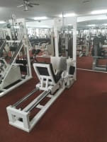 Gym80 Galaxy Sport 45° leg press with plug weight + Plate Loaded Hackenschmidt horizontal leg press sitting