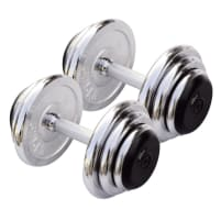 Chrome compact dumbbell pairs from 3 - 25 kg - 1 kg gradient