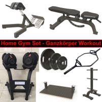 Homegym Set - Trainings für alle Muskelgruppen - Ganzkörpertraining für Zuhause - Bank, Hanteln, Ständer, Stange, Gewichte etc - DankSport - LIEFERBAR