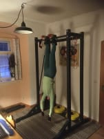 Fitness corner with rack, Olympic barbell, weights ...