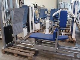 HBP Beinpresse, liegend, 240kg Gewichtsblock, gebraucht, silber