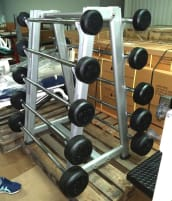 Barbell set, consisting of 5 pairs of barbells and rack