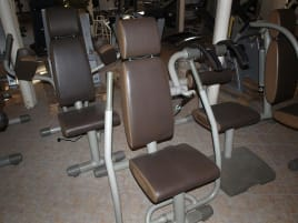 Techno Gym Zirkel Easy Line, 8 Geräte, Gestelle Silber Polster Braun, guter Zustand