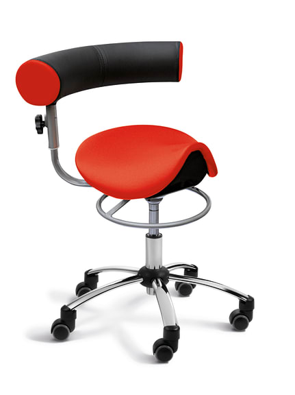 Ad Saddle Seat Health Chair For Physio Or Practice With Height Adjustable Backrest Office Rolls